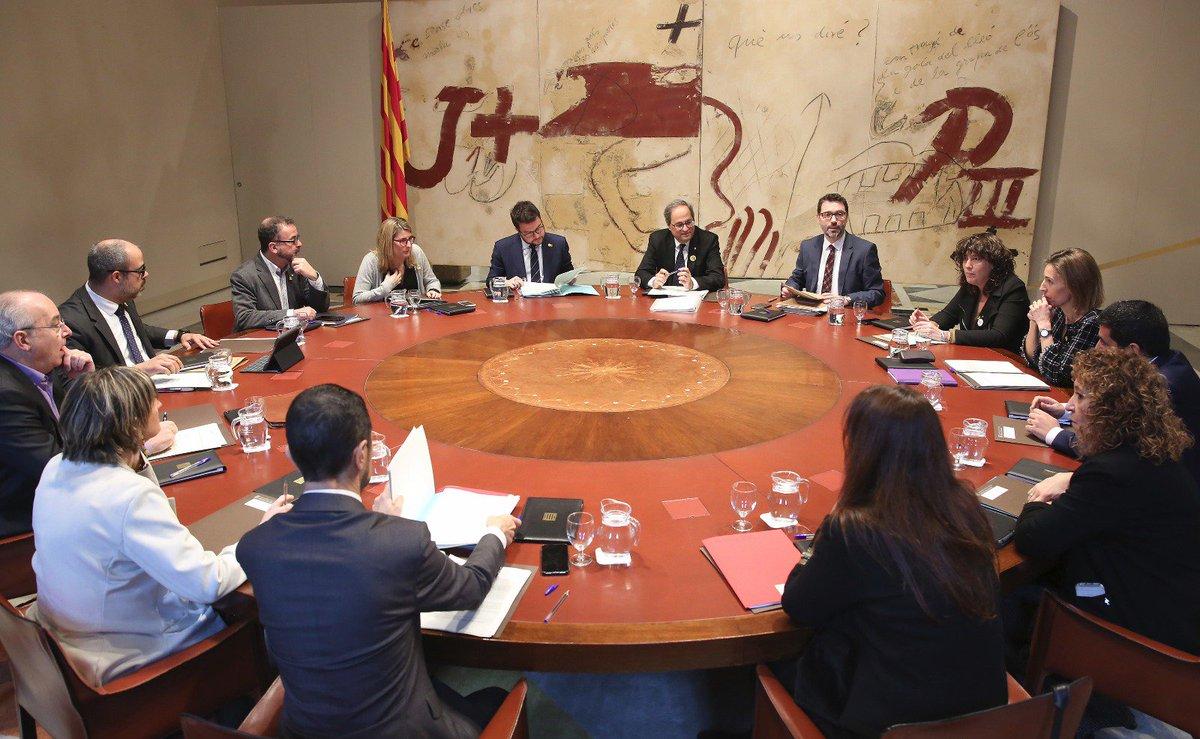 Reunión del gobierno catalán presidida por Quim Torra