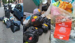 Bolsas de basura en una calle de Sant Andreu