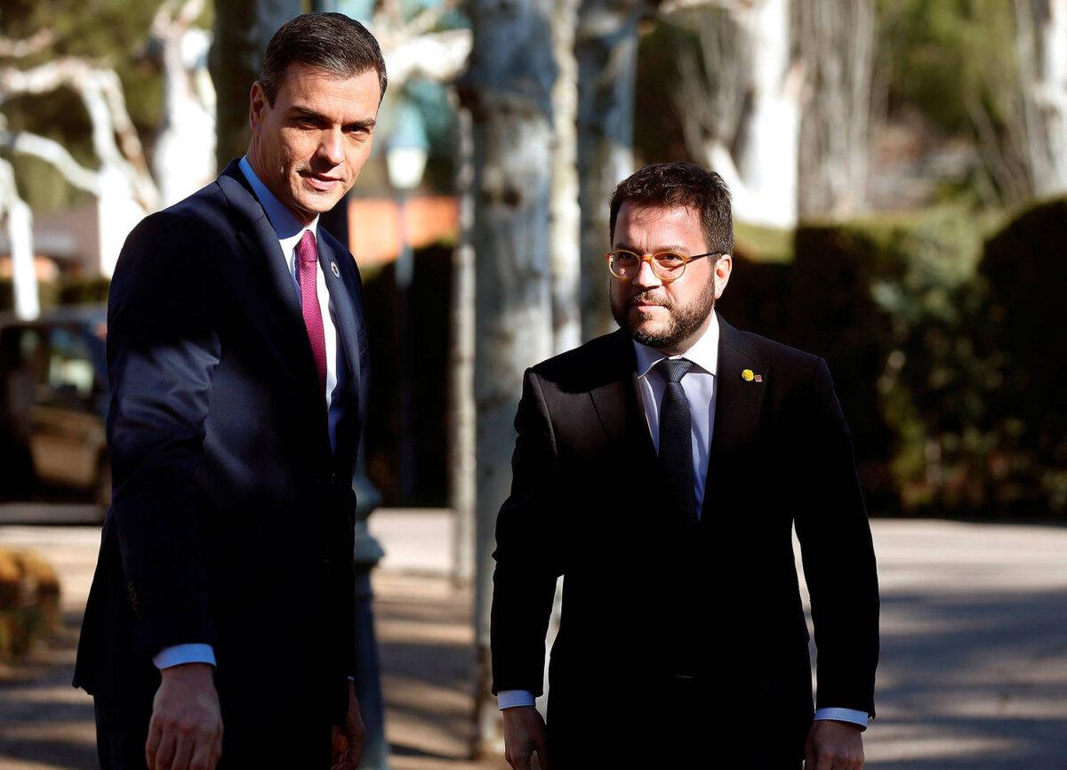 Pedro Sánchez con Pere Aragonès