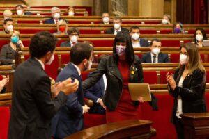 Aurora Madaula, en el Parlamento catalán