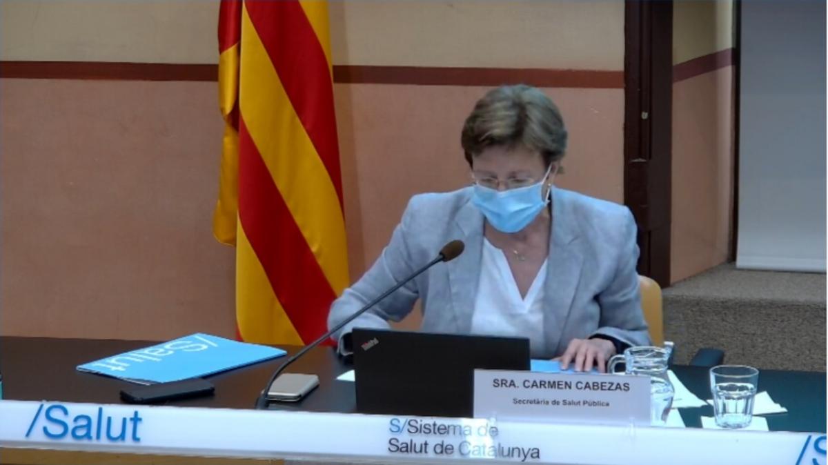 La secretaria de Salud Pública, Carmen Cabezas, en la rueda de prensa de Salud