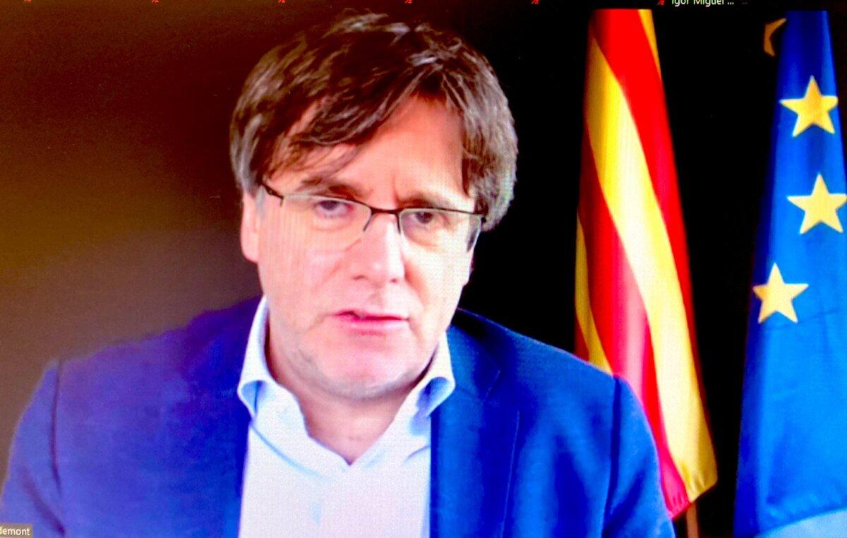 Carles Puigdemont, durante la conferencia virtual 'La lucha por la independencia desde el exilio'