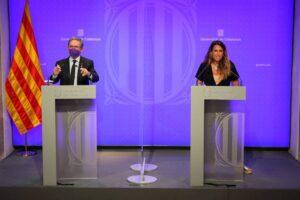 Compareixença del conseller Jaume Giró i la portaveu del govern, Patrícia Plaja