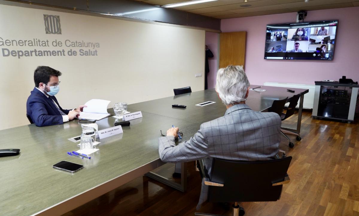 Reunión del presidente Aragonès con responsables de Salud