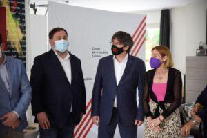 L'expresident Carles Puigdemont, l'exvicepresident Oriol Junqueras i l'expresidenta del Parlament Carme Forcadell