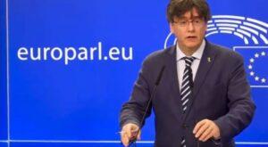 El líder de JxCat, Carles Puigdemont, en el Parlamento Europeo