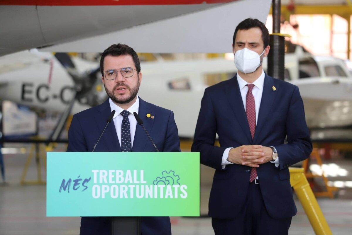 El president Pere Aragones i el conseller Roger Torrent