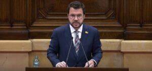 El president de la Generalitat, Pere Aragonès, a la sessió de control del Govern