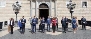 El president de la Generalitat, Pere Aragonès, acompanyat dels consellers de l'Executiu