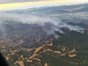 Imagen aérea del incendio originado en Santa Coloma de Queralt