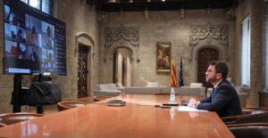 Reunió telemàtica del president de la Generalitat, Pere Aragonès