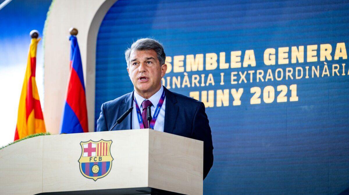 El presidente del Barça, Joan Laporta, a la Asamblea General del club