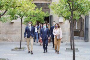El vicepresidente, Jordi Puigneró, el presidente, Pere Aragonès y la consejera de la Presidencia, Laura Vilagrà, en la reunión del Consejo Ejecutivo