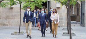 El vicepresident, Jordi Puigneró, el president, Pere Aragonès, i la consellera de la Presidència, Laura Vilagrà, a la reunió del Consell Executiu