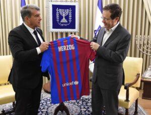 Joan Laporta con el presidente de Israel, Isaac Herzog