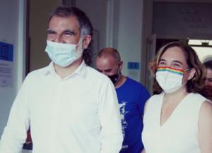 Jordi Cuixart y Ada Colau en las Fiestas de Gracia