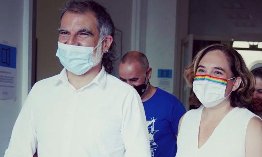 Jordi Cuixart i Ada Colau a les Festes de Gràcia