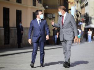 Los presidentes Pere Aragonès y Ximo Puig