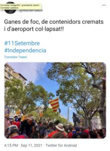 Tuit de Núria Pla