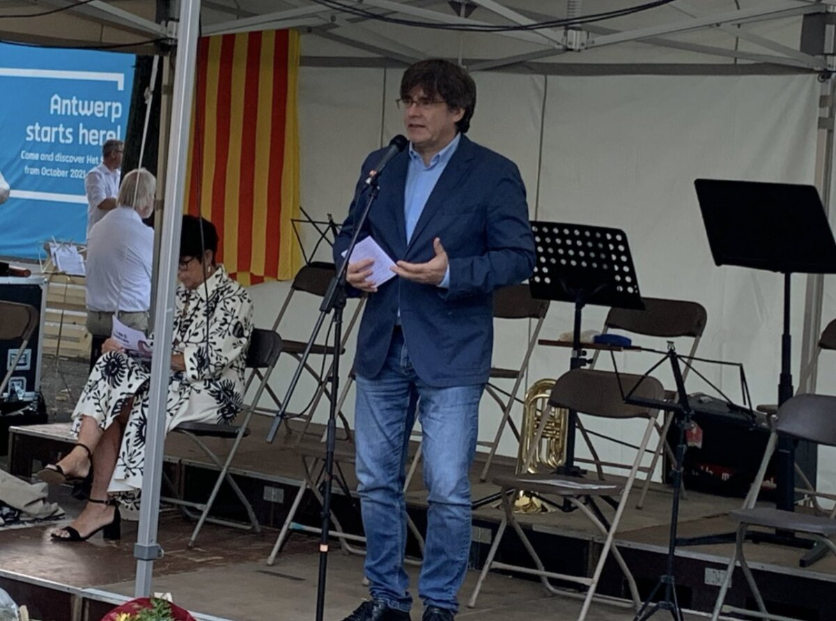 Carles Puigdemont, en un acto previo a la Diada celebrado en Bèlgica