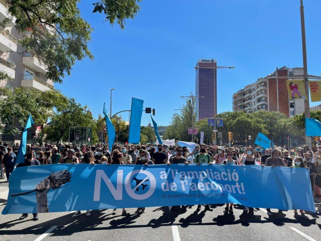 Manifestación contra la ampliación del aeropuerto en Barcelona