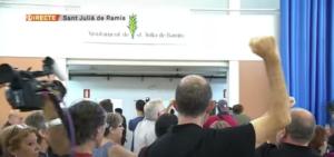 El 1-O de 2017 en el pabellón de Sant Julià de Ramis