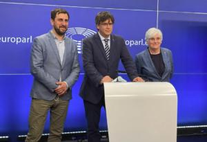 Comín, Puigdemont i Ponsatí al Parlament Europeu