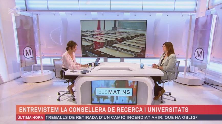 Entrevista a la consejera Gemma Geis, en 'Els Matins' de TV3