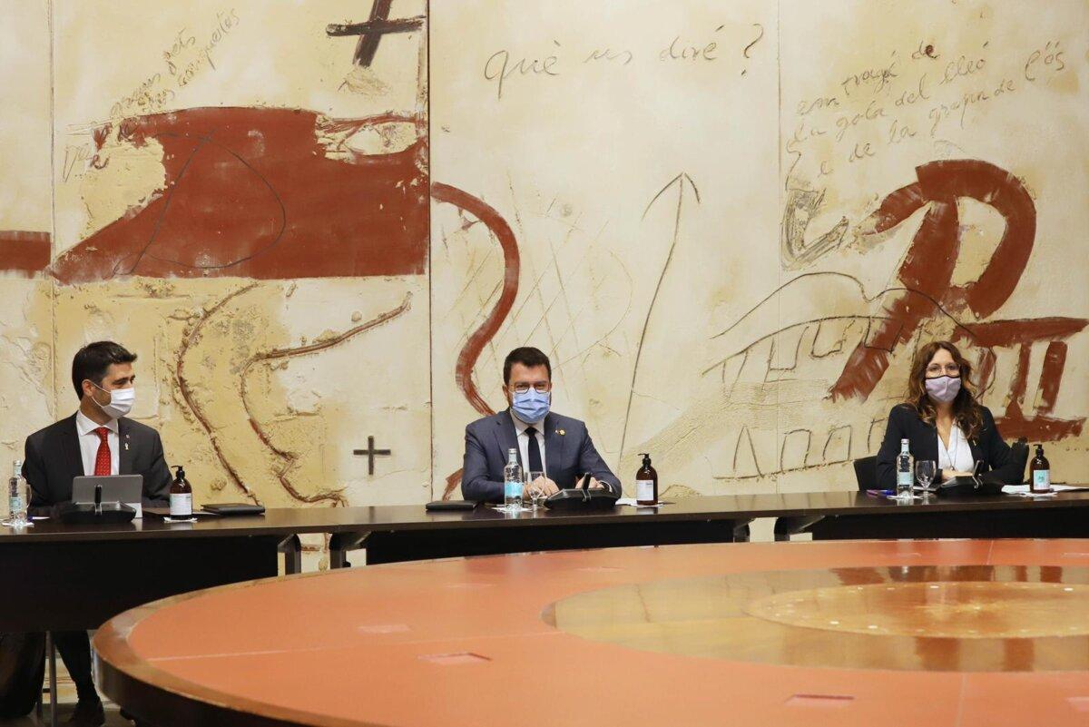 El president Pere Aragonès, durant una reunió del govern.